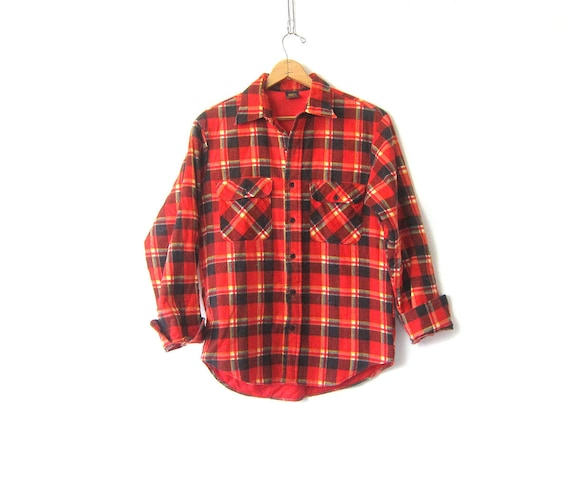 Vintage Flannel Jacket Insulated Lined Red Blue Plaid Flannel Rugged Fall Coat Button Down Pocket Shirt Jacket Mens Size Medium