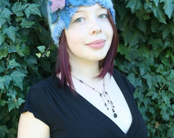 Angora Crochet Hat with Felted Flower- Indigo, Violet, Emerald
