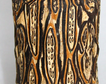 """Ponga wood """"3"""" New Zealand Pong Wood fern Sculptured wood carving Ponga wood sculptured vase handcrafted Wood"""