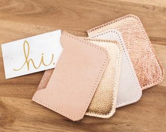 LEATHER Card Case. Credit Card Case. Metallic Leather Wallet. Card Holder. Leather Business Card Holder