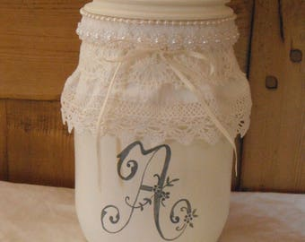 Shabby chic and romantic glass bottle