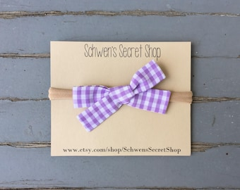 Purple gingham baby bow, hand tied bow, baby girl headband, nylon headband, baby headband, baby hair bow, baby bow headband, baby bows