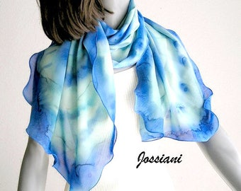 Ocean Blues Wrap Shoulder Scarf Coverup, Light Blue Cerulean Aqua Mint Sage Turquoise, Hand Painted Silk Unique Hand Dyed, Jossiani