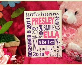 6x8 White Announcement Tile With Baby's Name And Birth Information