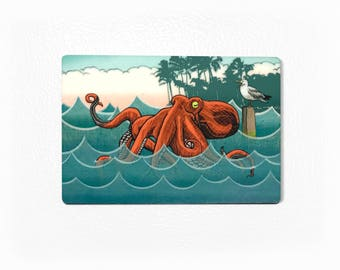 Octopus Fridge Magnet, Octopus Kitchen Magnet, Sea Creatures Magnet, Octopus Lovers Gift, Funny Small Magnets, Sea Life Magnets