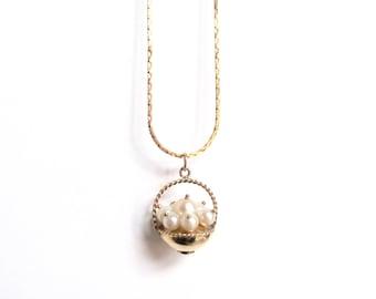 Vintage 14k Gold Filled Winard Pearl Basket Pendant