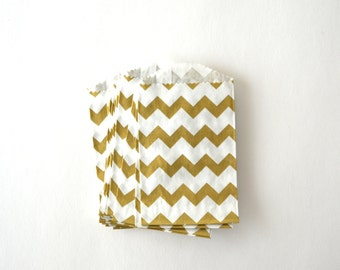 25 Small Metallic Gold Chevron White Paper Bags, 2.75 x 4 inches