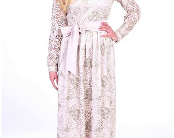 Last One Evening Party Lace Maxi Dress V Back With Pleats Long Sleeves Sash