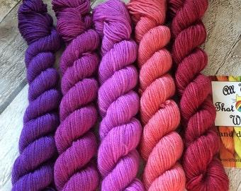 Hand dyed mini skeins semi solid yarn merino/nylon Superwash yarn/wool /Uk dyer/ knit/ crochet/ mini set