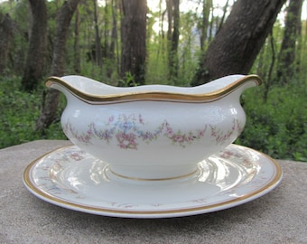 Vintage Syracuse China Centerpiece Bowl Antique Floral Patterns Gravy Boats