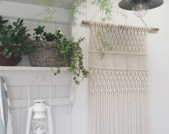 Made to order: Large modern macrame woven wall hanging - 100% cotton and driftwood made by hand in the UK