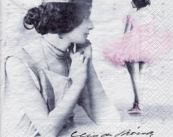 Decoupage Paper Napkins Vintage Cleo de Merode Ballet (1x Napkin) - ideal for Decoupage, Collage, Mixed Media, Crafts