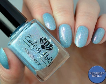 "Nail polish - ""The Tenth Running"" light blue holo polish with glitters"