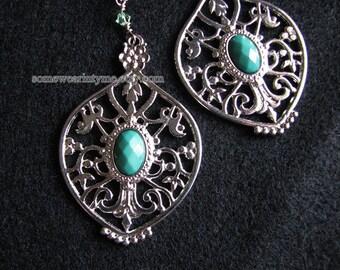 Large statement earrings | silver filigree | blue dangle | boho chic | women | Final Sale