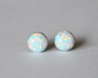 5mm Opal stud earrings-  Titanium opal earrings - White opal studs- Small opal earrings- Pure Titanium earrings- Hypoallergenic