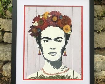 PRINT: Viva Frida Kahlo (Hi-Resolution Print from Pressed Flower Original Piece)
