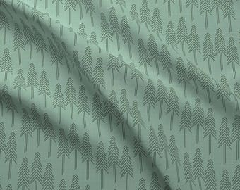 Woodland Pine Trees Fabric - Forest Pine Trees By Patricia Braune - Green Pine Trees Cotton Fabric By The Yard With Spoonflower