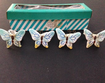 Holt Howard - Candle Huggers - Butterflies - Blue and Yellow - Original Box - Set of Four - Signed 1958
