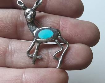 Vintage Deer Sterling Silver Mexico Brooch