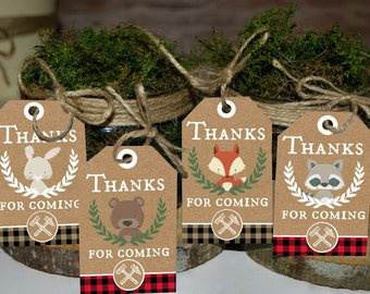 Lumberjack Thank you tags, Thank you favors, Woodland party Thank you tags, Lumberjack birthday favors, Lumberjack Baby shower favors