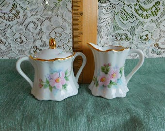 Small Sugar and Creamer Hand Painted Floral Design Vintage