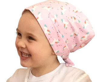 Mia Children's Head Cover, Girl's Cancer Hat, Chemo Scarf, Alopecia Headwear, Head Wrap, Cancer Gift for Hair Loss - Rainbow Unicorns