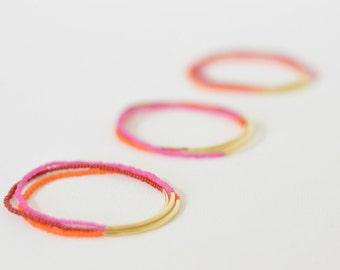 Gold bar bracelet red bracelet gift set stacking bracelet hot pink bracelet boho bracelet minimalist bracelet elastic bracelet bridesmaids