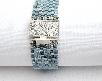 beaded bracelet, denim blue, seed bead cuff, beaded bracelet for women, beaded jewelry, seed bead bracelet, boho chic