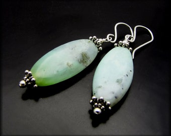 LITTLE BREEZE ~ Mint Green Chrysoprase, Sterling Silver Earrings