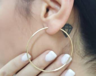 Hoop earrings, Solid gold hoop earrings, Rose gold hoops, 14k hoop earrings, Earnings,  5cm hoop earrings