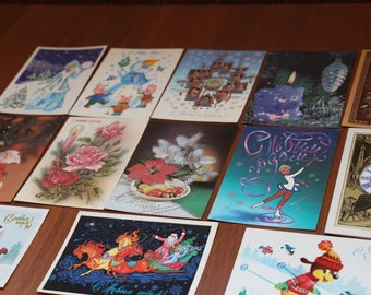 Happy new year, holiday cards, Soviet postcards in Russian, vintage postcards with cones and animals