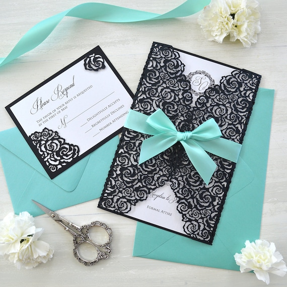 BLACK ROSES Laser Cut Wrap Invitation - Black Laser Cut Wedding Invitation with White Shimmer Insert and Aqua Ribbon Bow