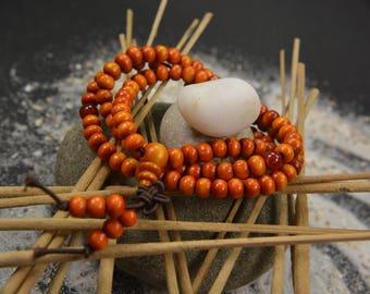 Man/women voque infinity multi layer beaded charm bracelet handmade jewelry orange