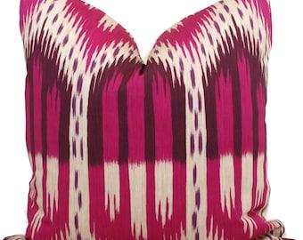 Magenta Schumacher Bukara Ikat Decorative Pillow Cover 18x18, 20x20, 22x22 or lumbar pillow - Throw - Accent Pillow - Toss Pillow, Pink Ikat