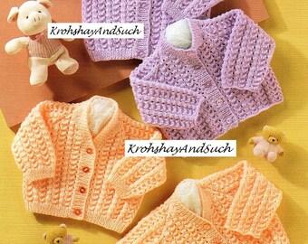 Baby DK Cardigans, Round & V Neck, Knitting Patterns. PDF Instant Download.