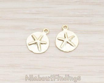 PDT1318-MG // Matte Gold Plated Mini Starfish Fossil Pendant, 2 Pc