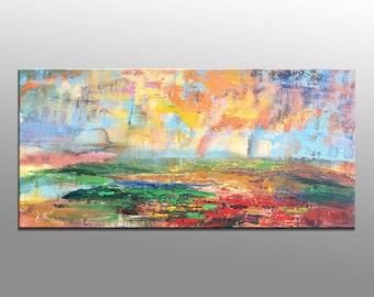 George Miller Abstract Painting Colorful Life Acrylic Canvas Art  Nice Expressionism Modern Fine Art  24x48 Stretched Ready to Hang