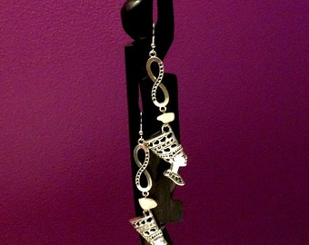 """Egyptian infinity Nefertiti silver or antique brass tone earrings with semi precious stone that you choose. 4"""" or 10 cm long x 0.75"""" or 2 cm"""