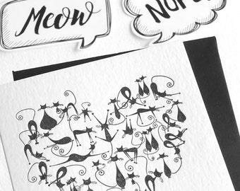 Cat love card, Valentines Day, Letterpress, cat lover, cute black cats retro style illustration, kawaii, neko, fun animal card, black white