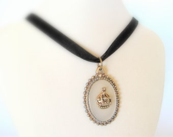 Regal Medallion - Vintage Pendant on Black Velvet Ribbon Choker
