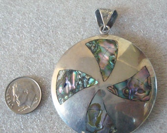 Vintage 925 Sterling Silver Abalone Inlay Large Pendant Signed Taxco Mexico 23gr
