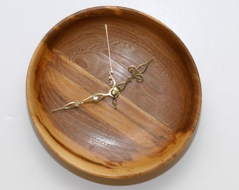 Turned Wood Wall Clock, Red Elm Wall Clock