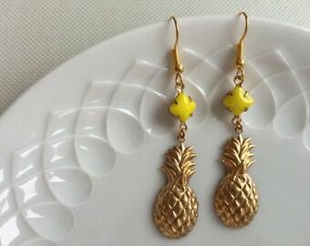 Pineapple earrings,gold,yellow,Piña Colada