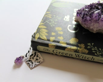 Teabag Bookmark with Wire Wrapped Crystal Gemstone Amethyst Pendent Laminated Linocut Block Print