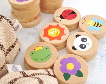 Hand painted wooden Memory game
