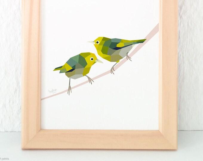Silvereye pair, Waxeye pair, Slender-billed White-eye, New Zealand birds, New Zealand art, Kiwi art, New Zealand garden birds, Tinykiwi art
