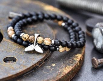 Mens bracelet, Men's onyx bracelet, men beaded bracelet, bracelet for men, bracelet for him, mens gift,mens jewelry, whale tail bracelet
