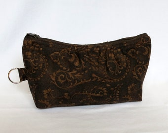 Zip Pouch - Brown Damask