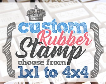 Choose from 1x1 to 4x4 inches - CUSTOM Art Wood Mounted Rubber Stamp - For Logo, Branding, Packaging, Invitations, Party, Favors, Wedding