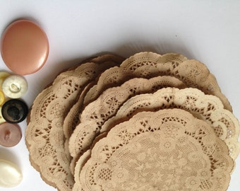 4 inch Paper Doilies. Vintage Wedding. Anthropologie. Shabby. Rustic. Stained Doily. Small Doilies. Aged. Antique. Vintage. Set of 25.